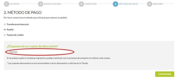 El canje del cupón descuento en todopapas.com