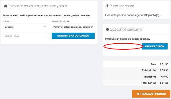 Proceso de canje del cupón descuento en Mimal.es