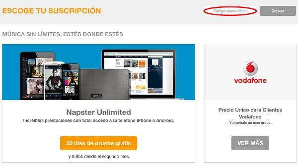 El canje de un cupón descuento en Napster
