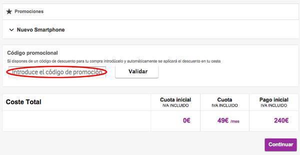 El canje de un cupón descuento en Vodafone