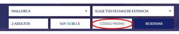 La casilla para activar el código de promoción
